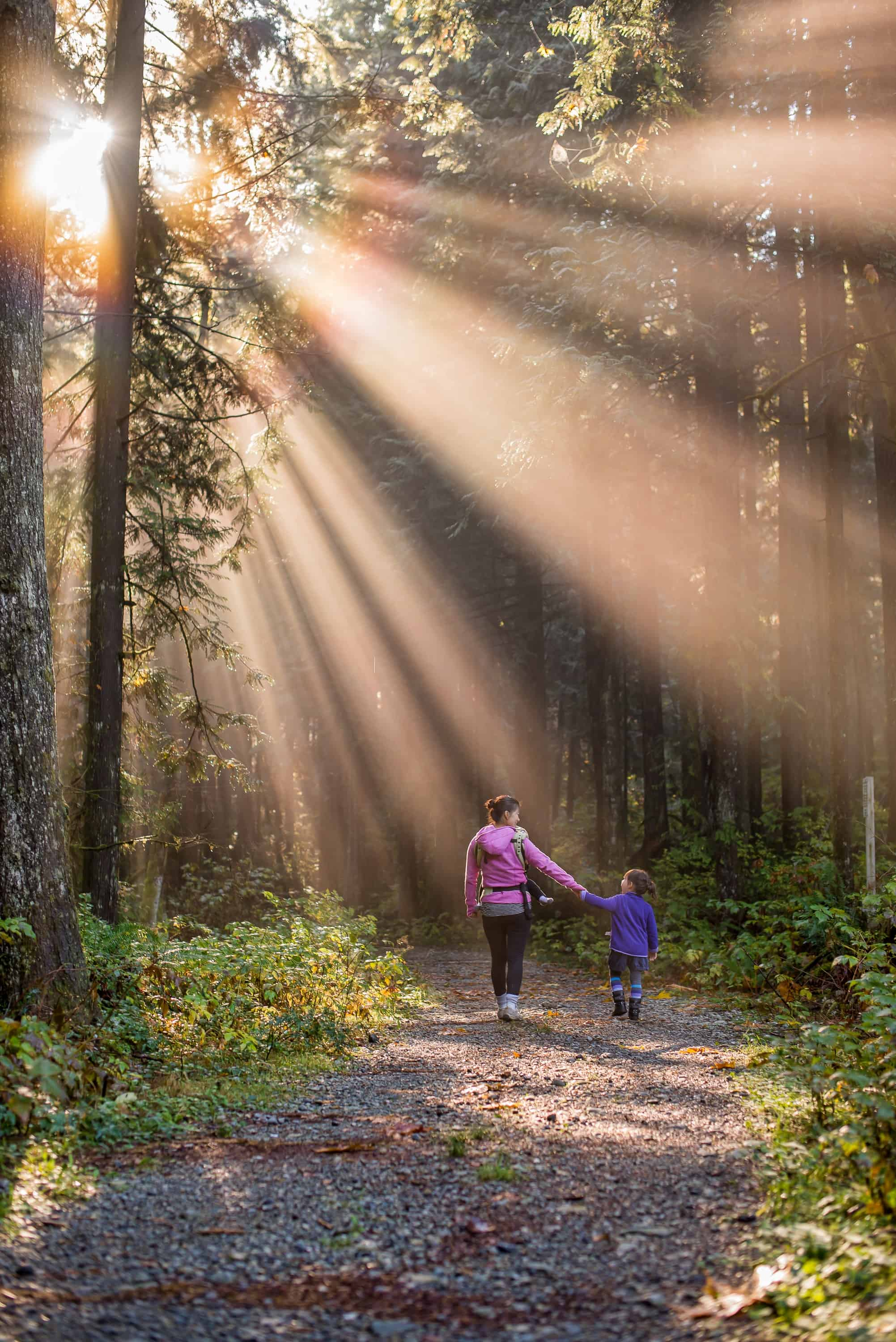A woman walks with her child in the woods.